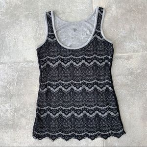 Mossimo Black Lacy Overlay and Gray Tank Top